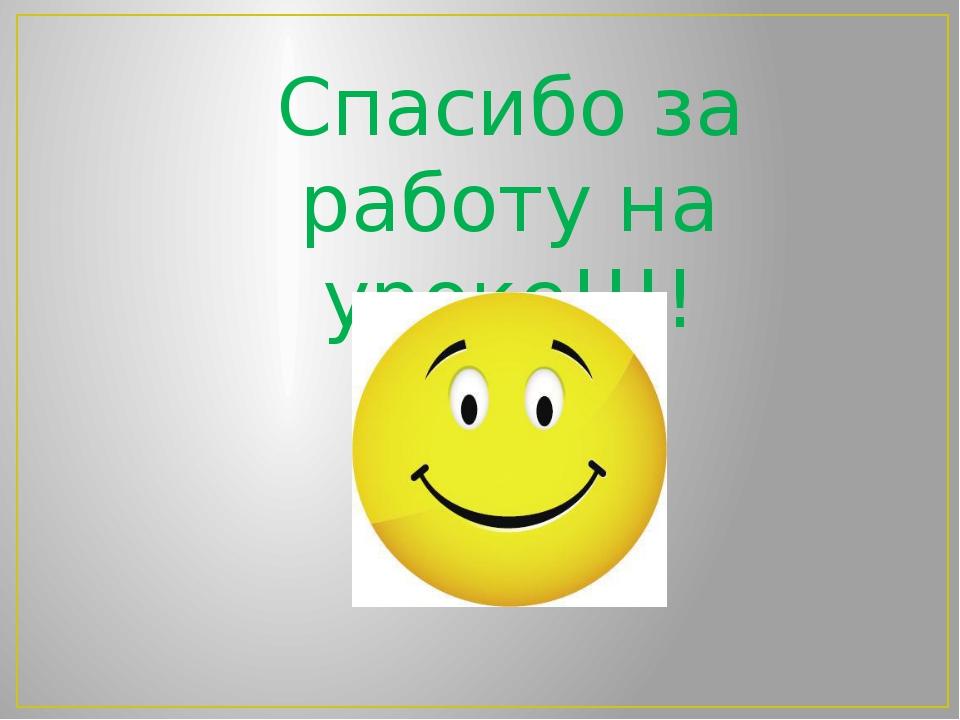 Спасибо за работу на уроке!!!!