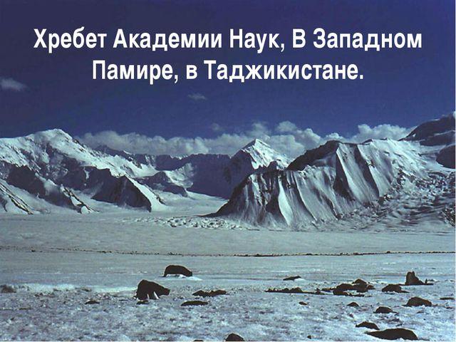Хребет Академии Наук, В Западном Памире, в Таджикистане.