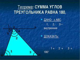 Теорема: СУММА УГЛОВ ТРЕУГОЛЬНИКА РАВНА 180. ДАНО: ∆ АВС. ∠1, ∠2, ∠3 – внутре
