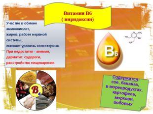 Участие в обмене аминокислот, жиров, работе нервной системы, снижает уровень