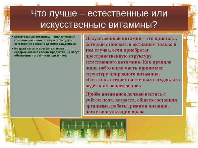 Что лучше – естественные или искусственные витамины? Естественные витамины –...