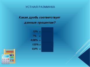 УСТНАЯ РАЗМИНКА Какая дробь соответствует данным процентам? 12% = 0,12 7% = 0