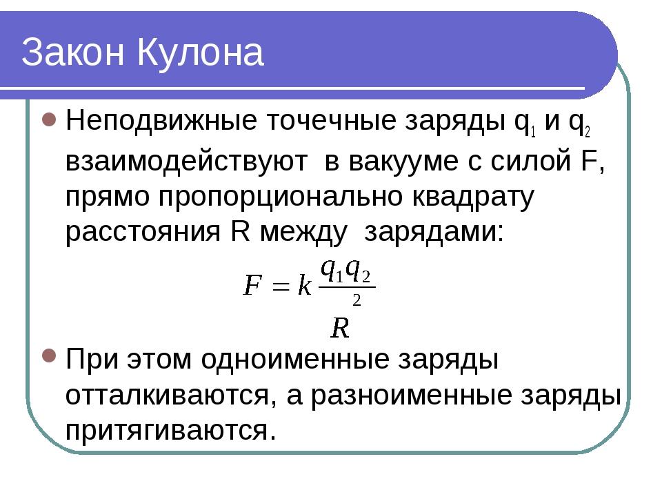 Закон Кулона Неподвижные точечные заряды q1 и q2 взаимодействуют в вакууме с...