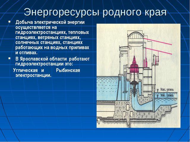 Энергоресурсы родного края Добыча электрической энергии осуществляется на гид...