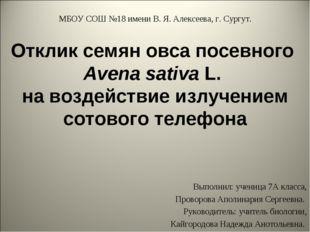 Отклик семян овса посевного Avena sativa L. на воздействие излучением сотовог