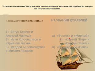 Установите соответствие между именами путешественников и на-званиями корабле