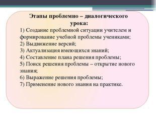 Этапы проблемно – диалогического урока: 1) Создание проблемной ситуации учит