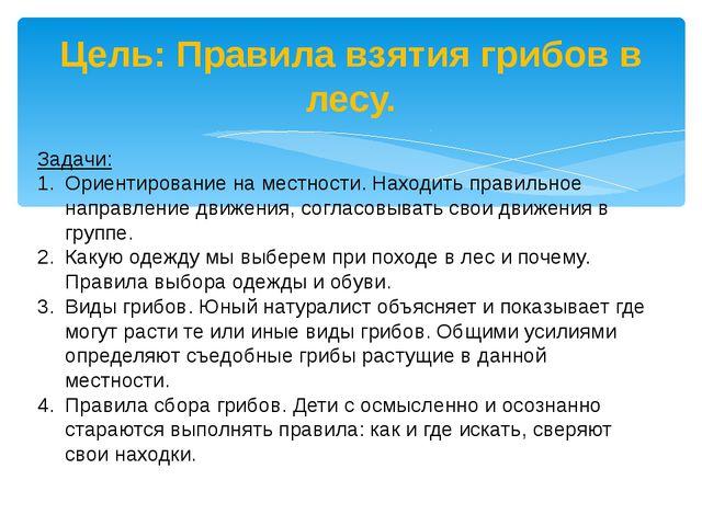 Цель: Правила взятия грибов в лесу. Задачи: Ориентирование на местности. Нахо...