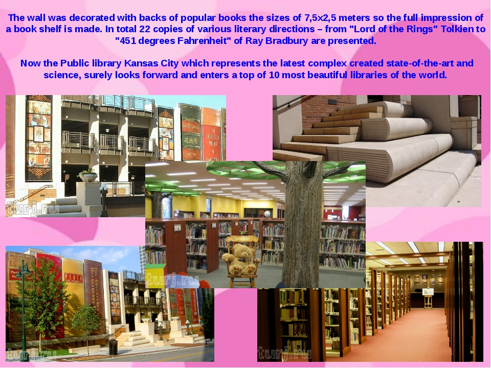 The wall was decorated with backs of popular books the sizes of 7,5х2,5 meter...