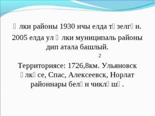Әлки районы 1930 нчы елда төзелгән. 2005 елда ул Әлки муниципаль районы дип а