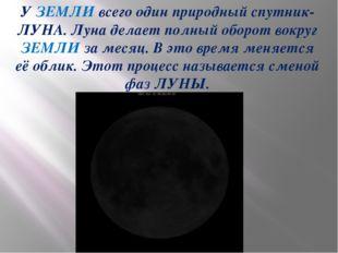 У ЗЕМЛИ всего один природный спутник- ЛУНА. Луна делает полный оборот вокруг