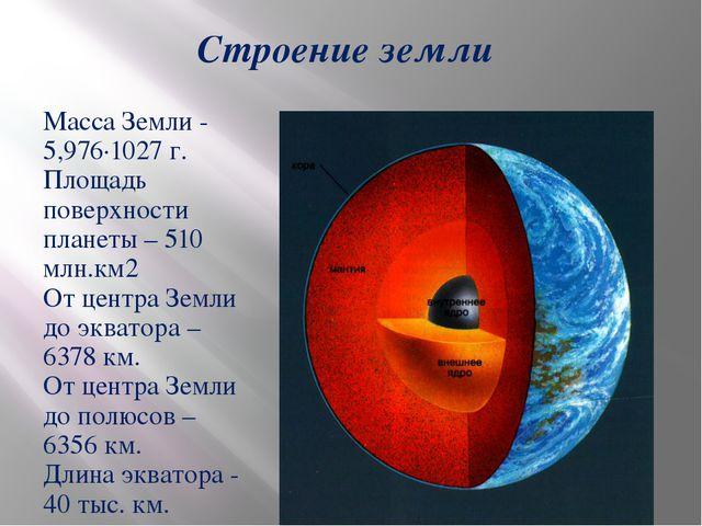 Строение земли Масса Земли - 5,976·1027 г. Площадь поверхности планеты – 510...