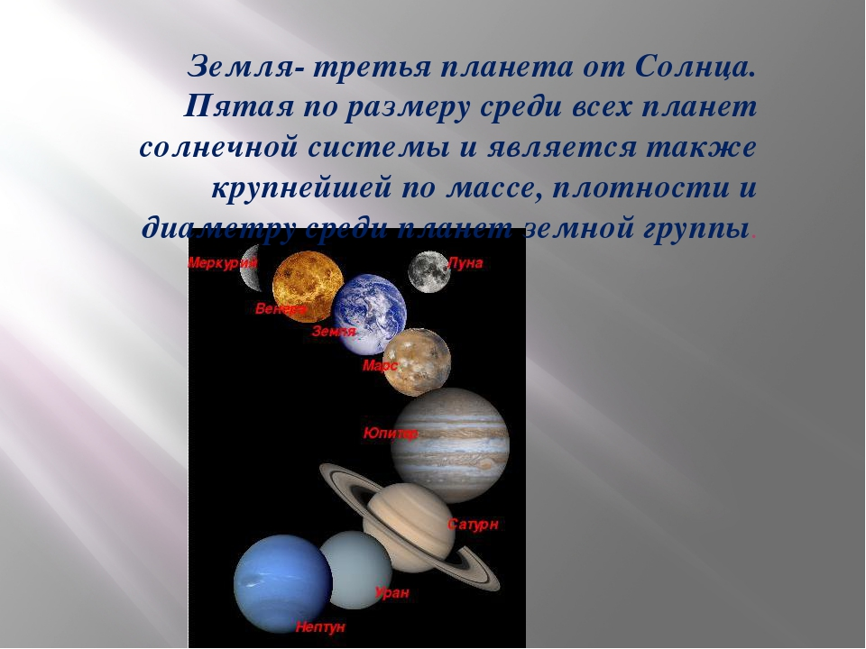 Земля- третья планета от Солнца. Пятая по размеру среди всех планет солнечно...