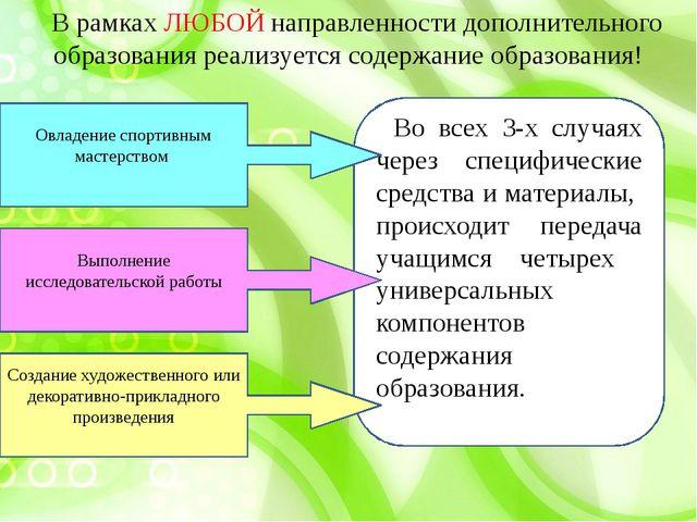 В рамках ЛЮБОЙ направленности дополнительного образования реализуется содержа...