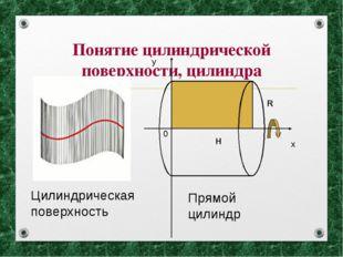 Понятие цилиндрической поверхности, цилиндра х у 0 Н R Прямой цилиндр Цилиндр