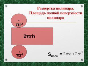 Развертка цилиндра. Площадь полной поверхности цилиндра Sполн = πr2 πr2 2πrh