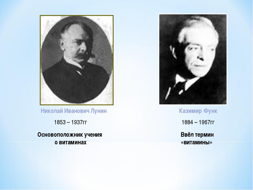 Николай Иванович Лунин Казимир Функ 1853 – 1937гг 1884 – 1967гг Основоположни...