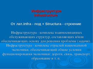 Инфраструктура Infrastructure От лат.Infra - под + Structura - строение Инфра