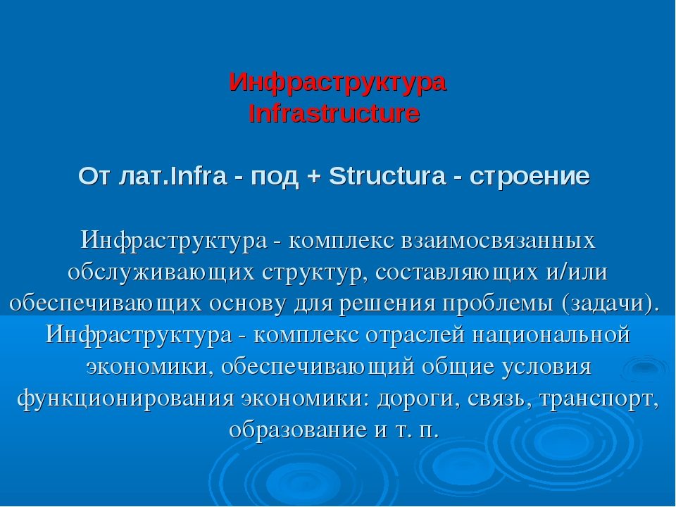 Инфраструктура Infrastructure От лат.Infra - под + Structura - строение Инфра...
