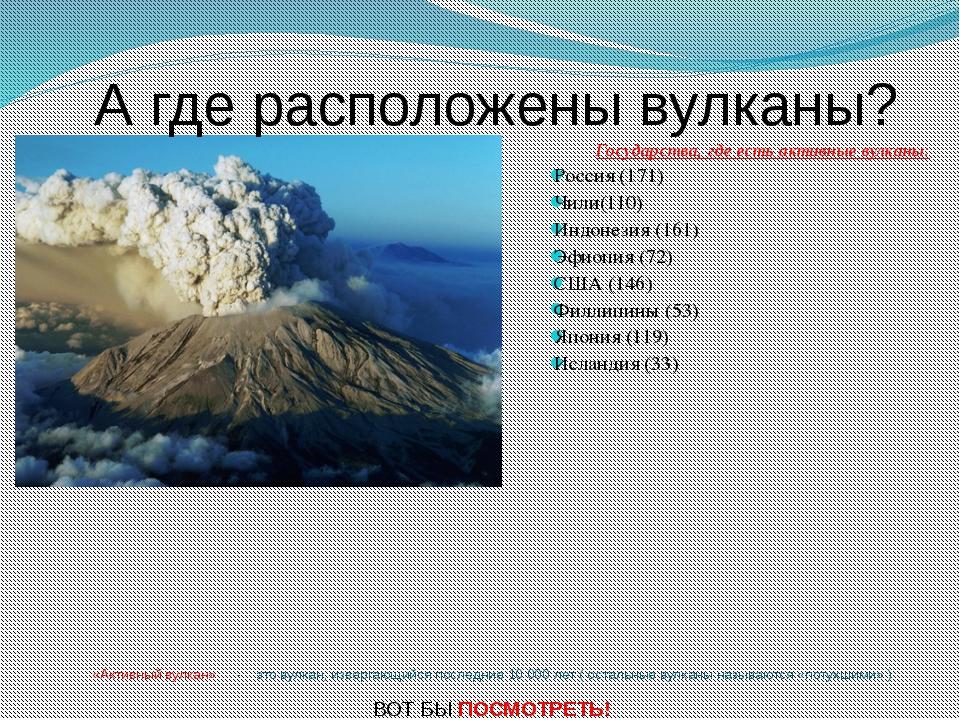 «Активный вулкан» - это вулкан, извергающийся последние 10 000 лет ( остальн...