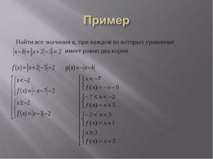 Найти все значения в, при каждом из которых уравнение имеет ровно два корня