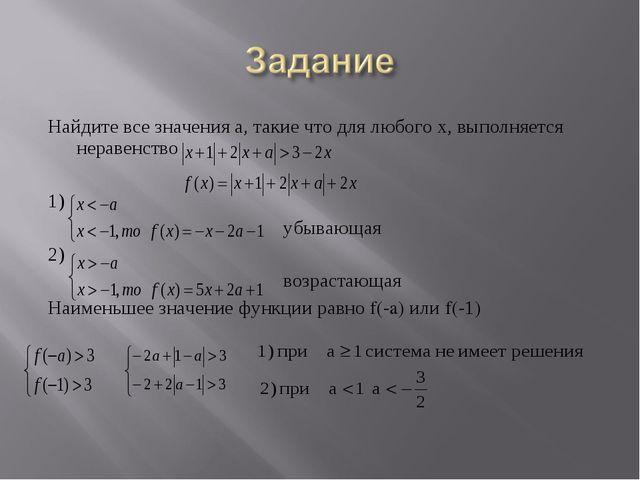 Найдите все значения а, такие что для любого х, выполняется неравенство 1) уб...