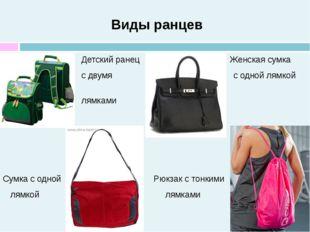 Виды ранцев Детский ранец Женская сумка с двумя с одной лямкой лямками Сумка