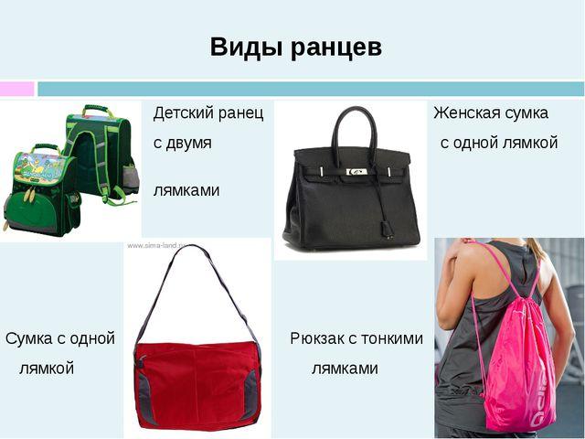 Виды ранцев Детский ранец Женская сумка с двумя с одной лямкой лямками Сумка...