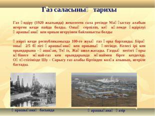 Газ саласының тарихы Газ өндіру (1920 жылында) жекелеген сала ретінде Маңғыст