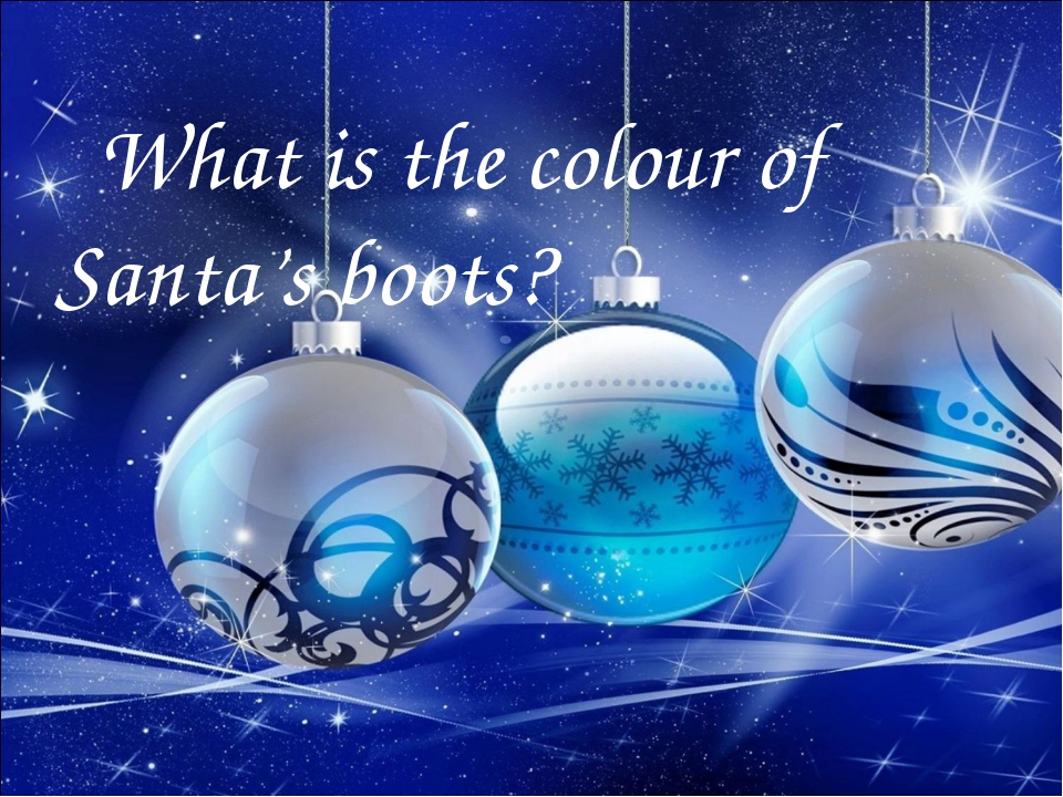 What is the colour of Santa's boots?