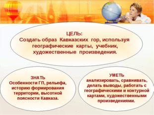 ЦЕЛЬ: Создать образ Кавказских гор, используя географические карты, учебник,