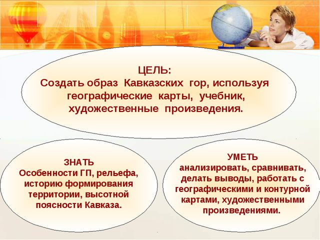 ЦЕЛЬ: Создать образ Кавказских гор, используя географические карты, учебник,...