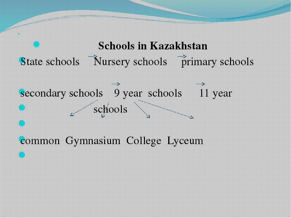 Schools in Kazakhstan State schools Nursery schools primary schools sec...