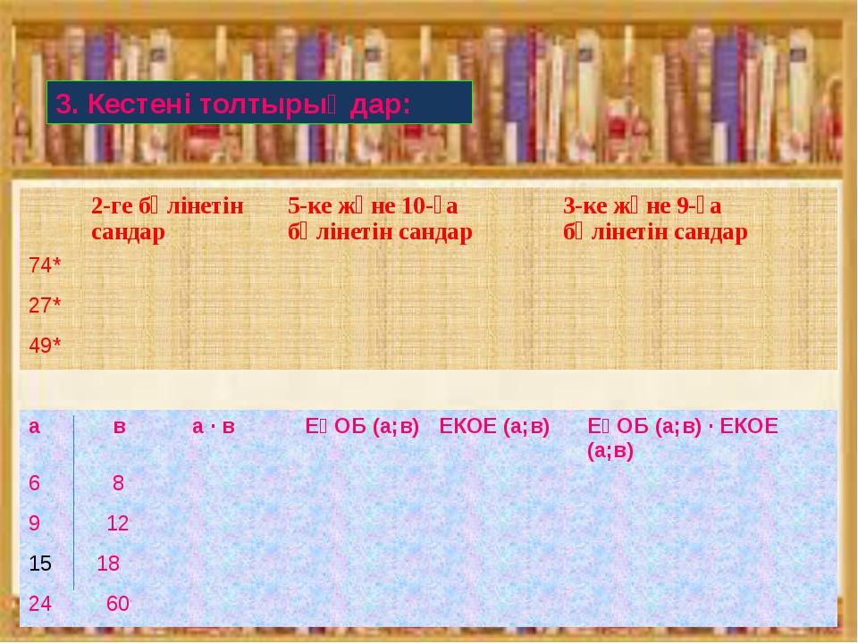 3. Кестені толтырыңдар: 2-ге бөлінетін сандар 5-ке және 10-ға бөлінетін санда...