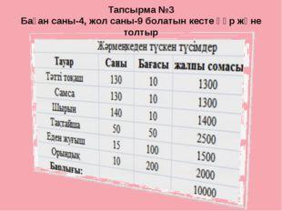 Тапсырма №3 Баған саны-4, жол саны-9 болатын кесте құр және толтыр