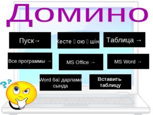 Пуск→ Кесте қою үшін: Таблица → Все программы → MS Office → MS Word → Word ба