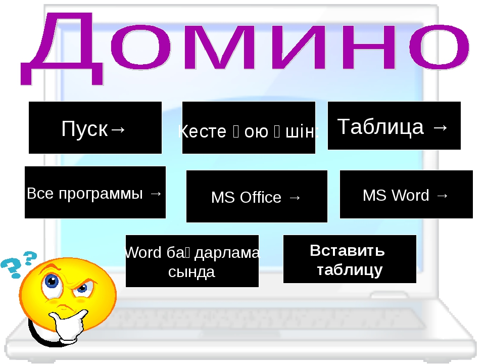 Пуск→ Кесте қою үшін: Таблица → Все программы → MS Office → MS Word → Word ба...