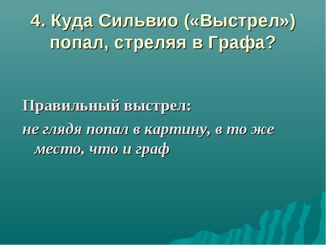 4. Куда Сильвио («Выстрел») попал, стреляя в Графа? Правильный выстрел: не гл...