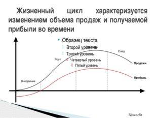 Жизненный цикл характеризуется изменением объема продаж и получаемой прибыли