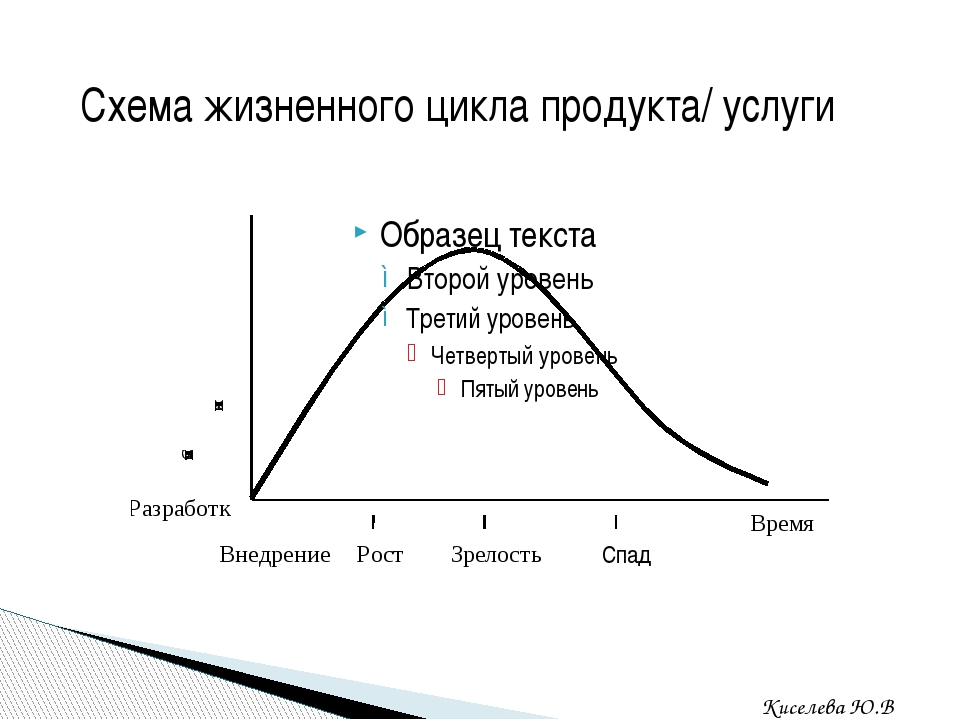 Схема жизненного цикла продукта/ услуги Киселева Ю.В. Спад