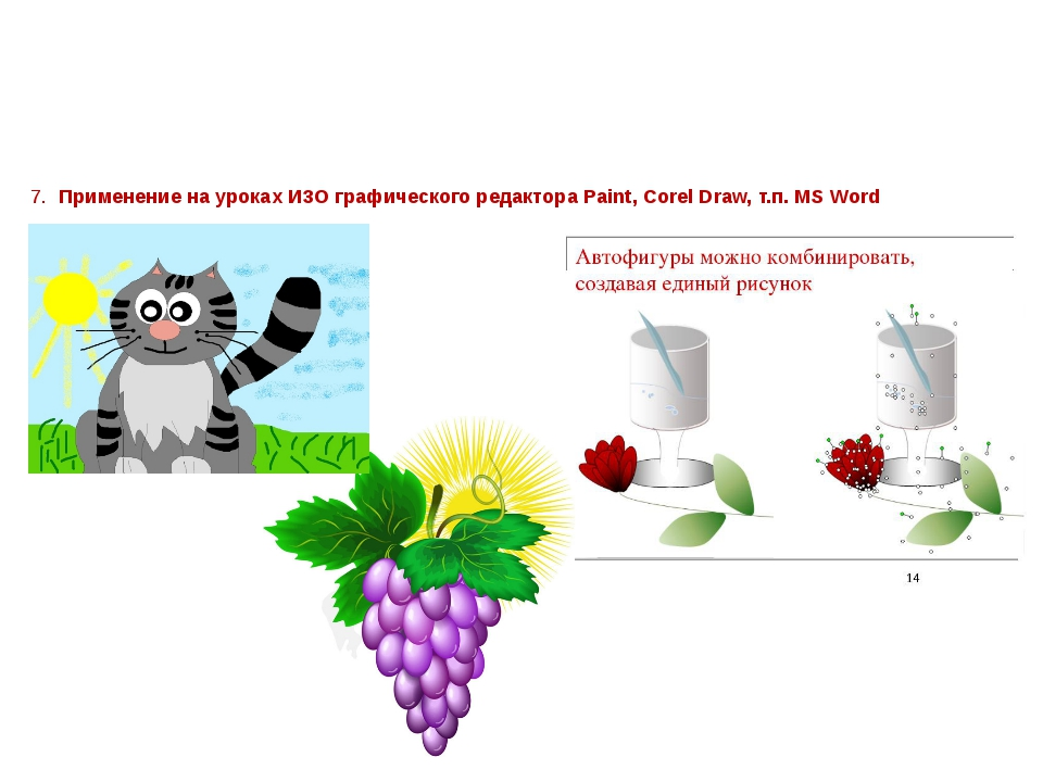 7. Применение на уроках ИЗО графического редактора Paint, Corel Draw, т.п. MS...