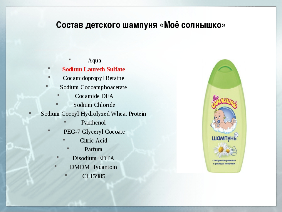 Состав детского шампуня «Моё солнышко» Aqua Sodium Laureth Sulfate Cocamidopr...