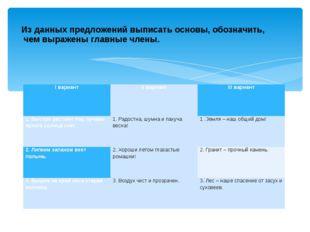 Из данных предложений выписать основы, обозначить, чем выражены главные члены
