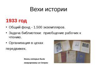 Вехи истории 1933 год Общий фонд - 1.500 экземпляров. Задача библиотеки: прио