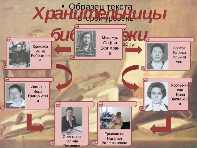 Хранительницы библиотеки Меламуд Софья Ефимовна Крюкова Анна Робертовна Корс...