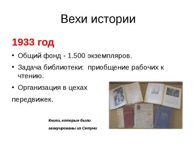 Вехи истории 1933 год Общий фонд - 1.500 экземпляров. Задача библиотеки: прио...