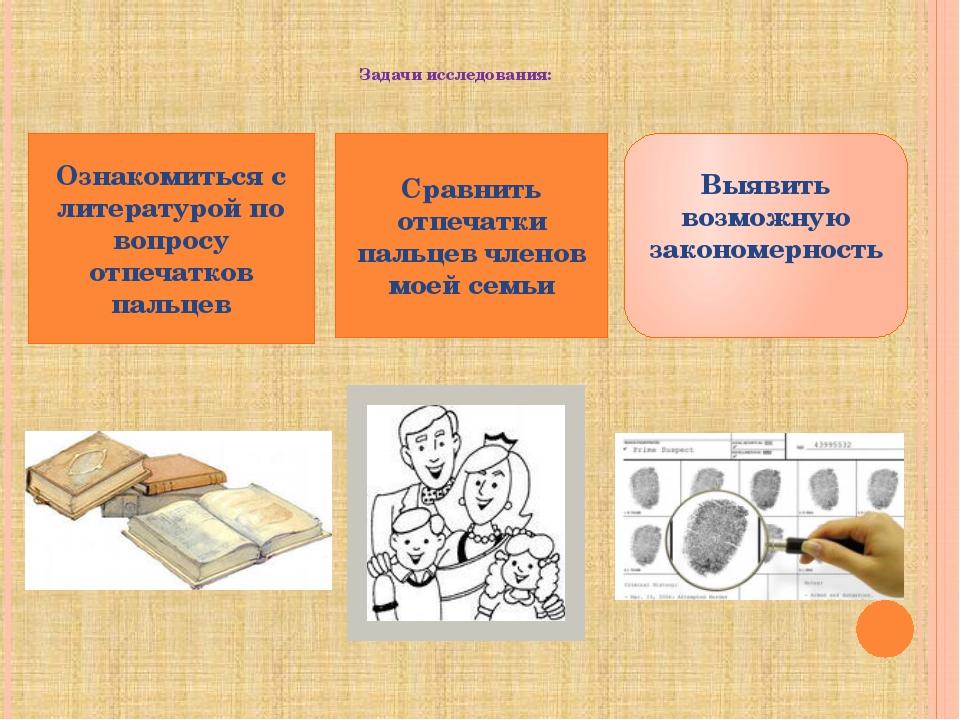 Задачи исследования: Ознакомиться с литературой по вопросу отпечатков пальце...