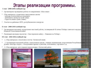 Этапы реализации программы. I этап - 2008-2009 учебный год: Организация и про