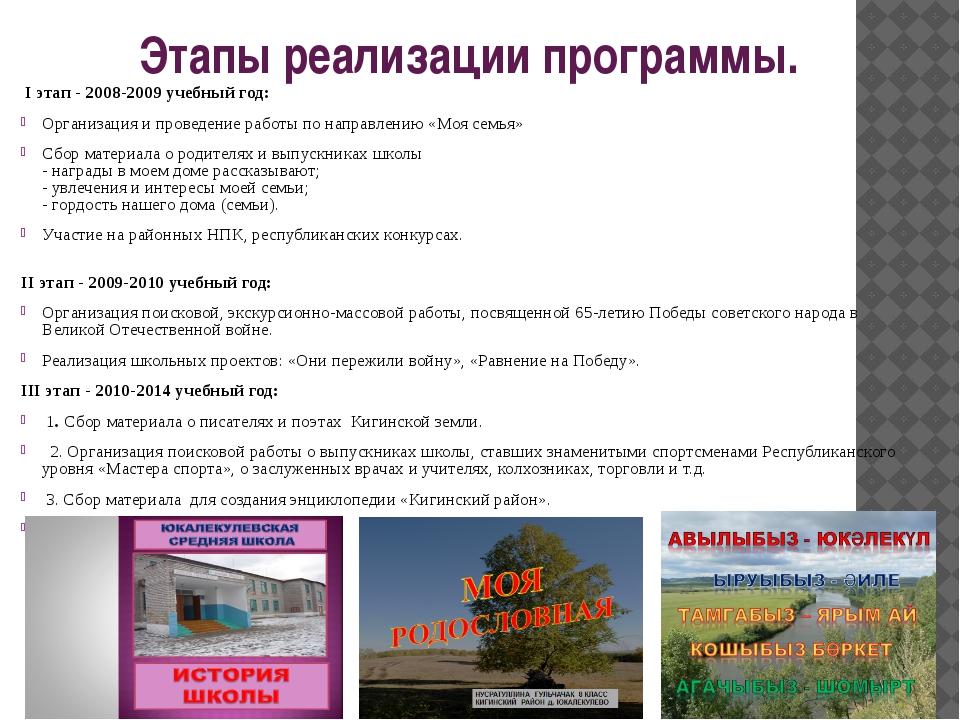 Этапы реализации программы. I этап - 2008-2009 учебный год: Организация и про...