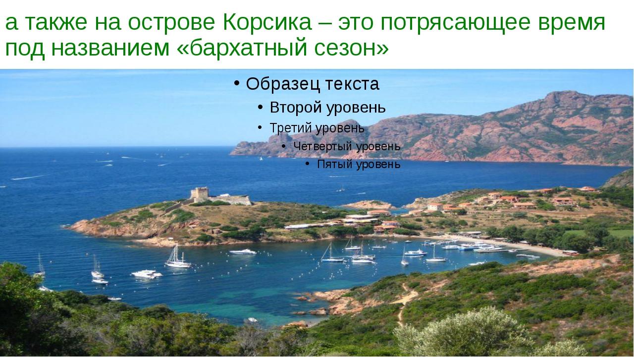 а также на острове Корсика – это потрясающее время под названием «бархатный с...